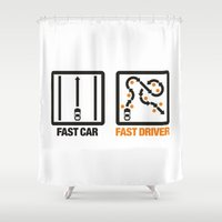 subaru Shower Curtains featuring Fast Car - Fast Driver v1 HQvector by Vehicle