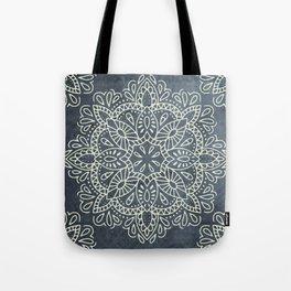 Mandala Vintage Ivory Blue Tote Bag