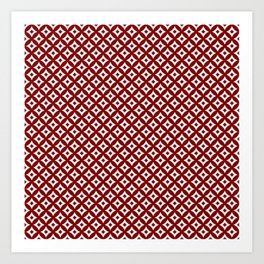 Dark Christmas Candy Apple Red and White Cross-Hatch Astroid Grid Pattern Art Print