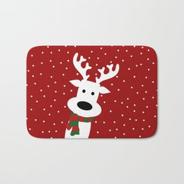 Reindeer in a snowy day (red) Bath Mat