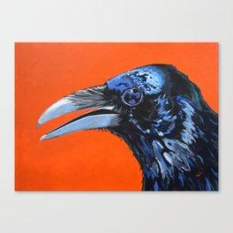 Orange Crow Canvas Print