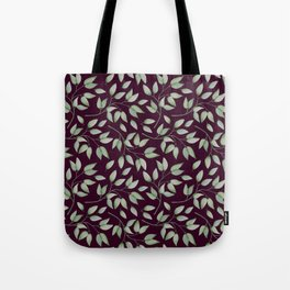 Watercolour leaves pattern on a Burgundy textured background Tote Bag