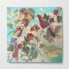 Parrots and Flora Metal Print