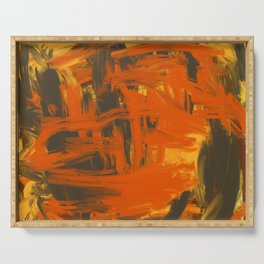 Orange & Olive Abstract Serving Tray