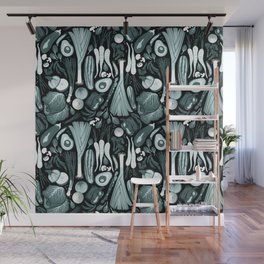 Go veggie // black background pine and mint vegetables Wall Mural