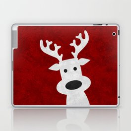 Christmas reindeer red marble Laptop & iPad Skin