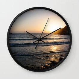 Sunset with golden ocean Wall Clock