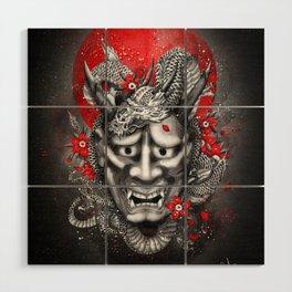 Hannya dragon mask Wood Wall Art