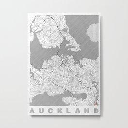 Auckland Map Line Metal Print