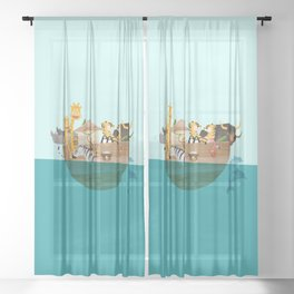 Noahs Ark with Animals– Illustration for the childrens room of girls and boys Sheer Curtain