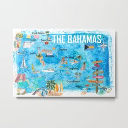 The Bahamas Illustrated Map with Main Roads Landmarks and Highlights Metal Print
