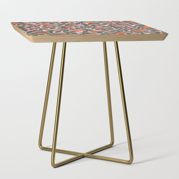 Oranges_and_Leaves_Pattern__Pink_Side_Table_by_Sewzinski__Gold__Square