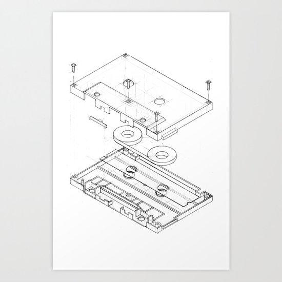 Exploded Cassette Tape  Art Print