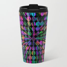 geometric circle abstract pattern in pink blue green black Travel Mug