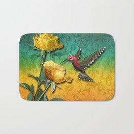 Hummingbird Gold Roses & Damask Bath Mat