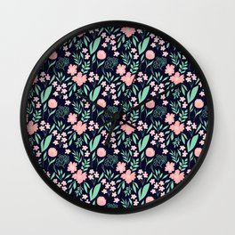 Dark Floral in Navy, Blush and Mint Wall Clock