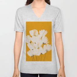 Flowers In Tangerine Unisex V-Neck