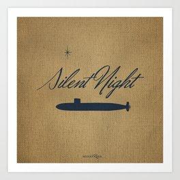 Silent Night - burlap Art Print