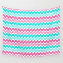 Turquoise Aqua Blue and Hot Pink Ombre Chevron Wall Tapestry