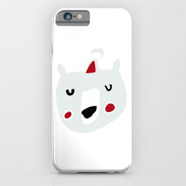 Cute holiday bear white iPhone Case