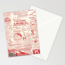 Vintage old newspaper, mid century illustration Stationery Cards