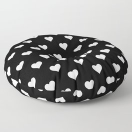 Simple Monochrome Hearts Pattern - White On Black Floor Pillow