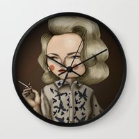 mad men Wall Clocks featuring Betty Draper (Mad men) by Maripili