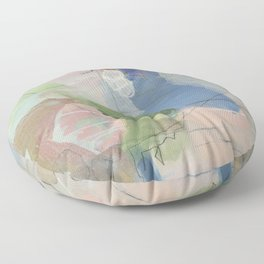 From Memory 1 - abstract painting blue, pink, orange, green, aegean teal Floor Pillow