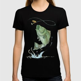 Largemouth Bass Jumping Out Of Water At Night // Spinner lure // Splashing Water // Fish On! T-shirt