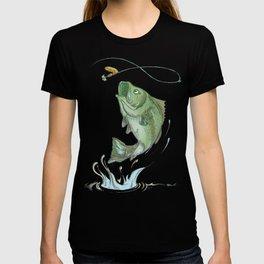 Largemouth Bass Jumping Out Of Water At Night // Spinner lure // Splashing Water // Fish On! T-shirt