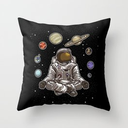 Yoga Astronaut Meditates In Space And feels The Galaxy Throw Pillow