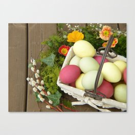 Easter Eggs in Basket - Cafe or Restaurant Decor Canvas Print