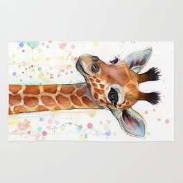 Giraffe Baby Animal Watercolor Whimsical Nursery Animals Rug