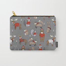 Christmas winter woodland animals foxes deer bunnies moose holiday cute design Carry-All Pouch