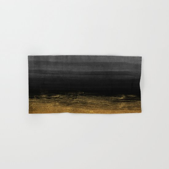Black and Gold grunge stripes on modern grey beton abstract backround- Stripe-Striped Hand & Bath Towel