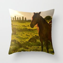 Sunrise with wild horses Throw Pillow