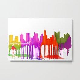 Columbus Ohio Skyline - Puddles Metal Print