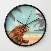 Wall Clocks featuring Beach Bear by Sandra Dieckmann