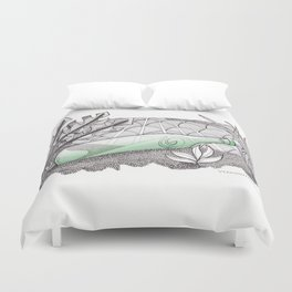 Message in a Bottle - Zentangle Illustration Duvet Cover
