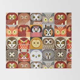 North American Owls Throw Blanket