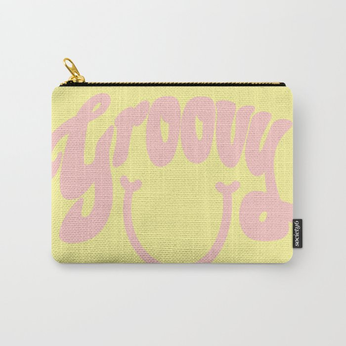Groovy Smile // Fun Retro 70s Hippie Vibes Lemonade Yellow Grapefruit Pink Lettering Typography Art Carry-All Pouch