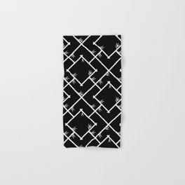 Bamboo Chinoiserie Lattice in Black + White Hand & Bath Towel