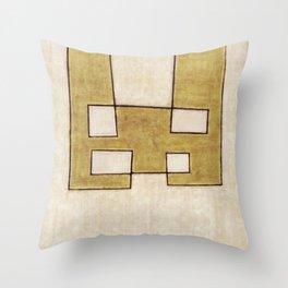 Protoglifo 06 'Mustard traverse cream' Throw Pillow