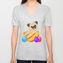 Pug Dog Egg Easter Funny Gift Love Dog Unisex V-Neck