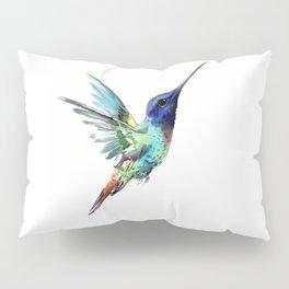 Flying Hummingbird flying bird, turquoise blue elegant bird minimalist design Pillow Sham