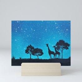 Giraffe Silhouette Painting Mini Art Print