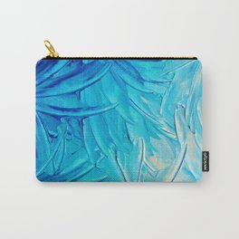 WATER FLOWERS - Beautiful Water Ocean Theme Shades Blue Floral Modern Design Abstract Painting Carry-All Pouch