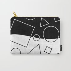 Black and White Geometric Shape Wave Divide Modern Pattern Carry-All Pouch