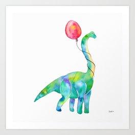 brachiosaurus with red balloon Art Print