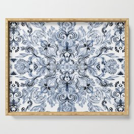 Indigo, Navy Blue and White Calligraphy Doodle Pattern Serving Tray